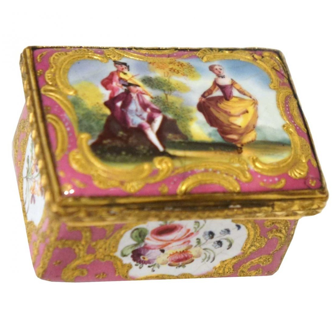 11: A Small French Enamel Patch Box, Height 1 x width 1