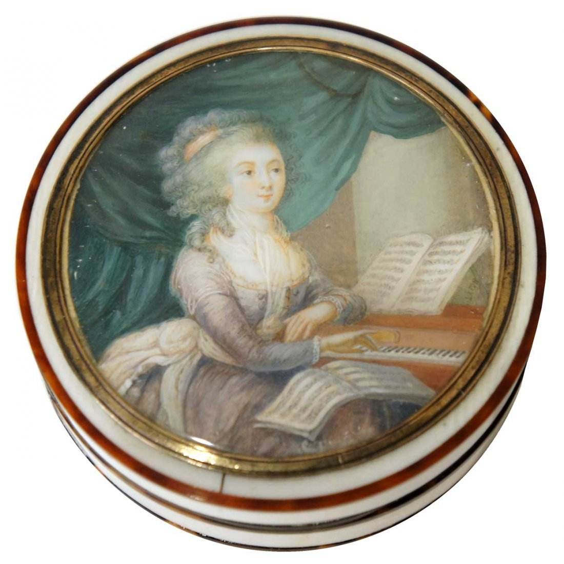 12: A French Louis XV Tortoiseshell and Ivory Portrait