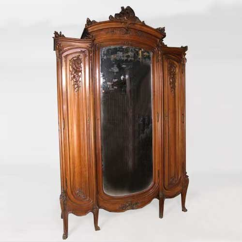 14: A French Louis XV Style Pale Walnut Mirrored Armoir
