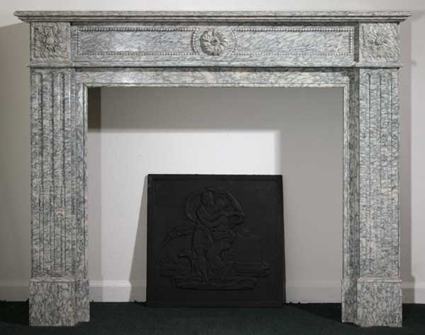 15: A French Louis XVI Style Cippolino Marble Fireplace