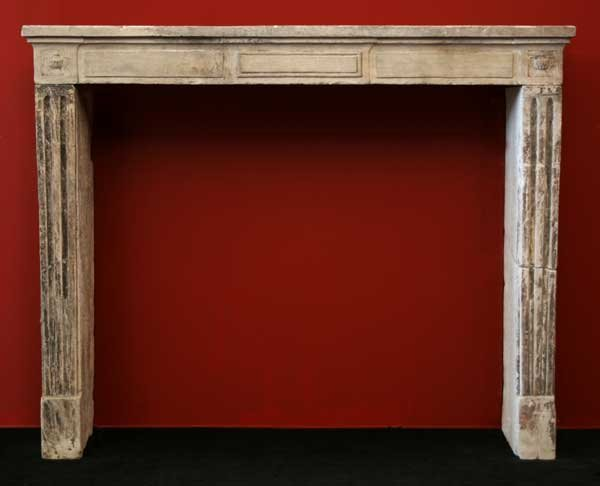 16: A French Louis XVI Limestone Fireplace Surround, He