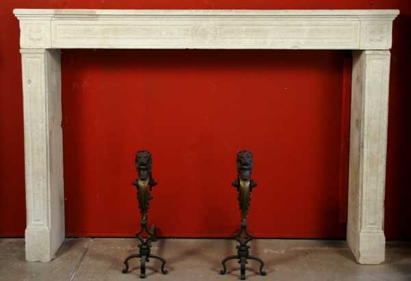 17: A French Louis XVI Limestone Fireplace Surround, He