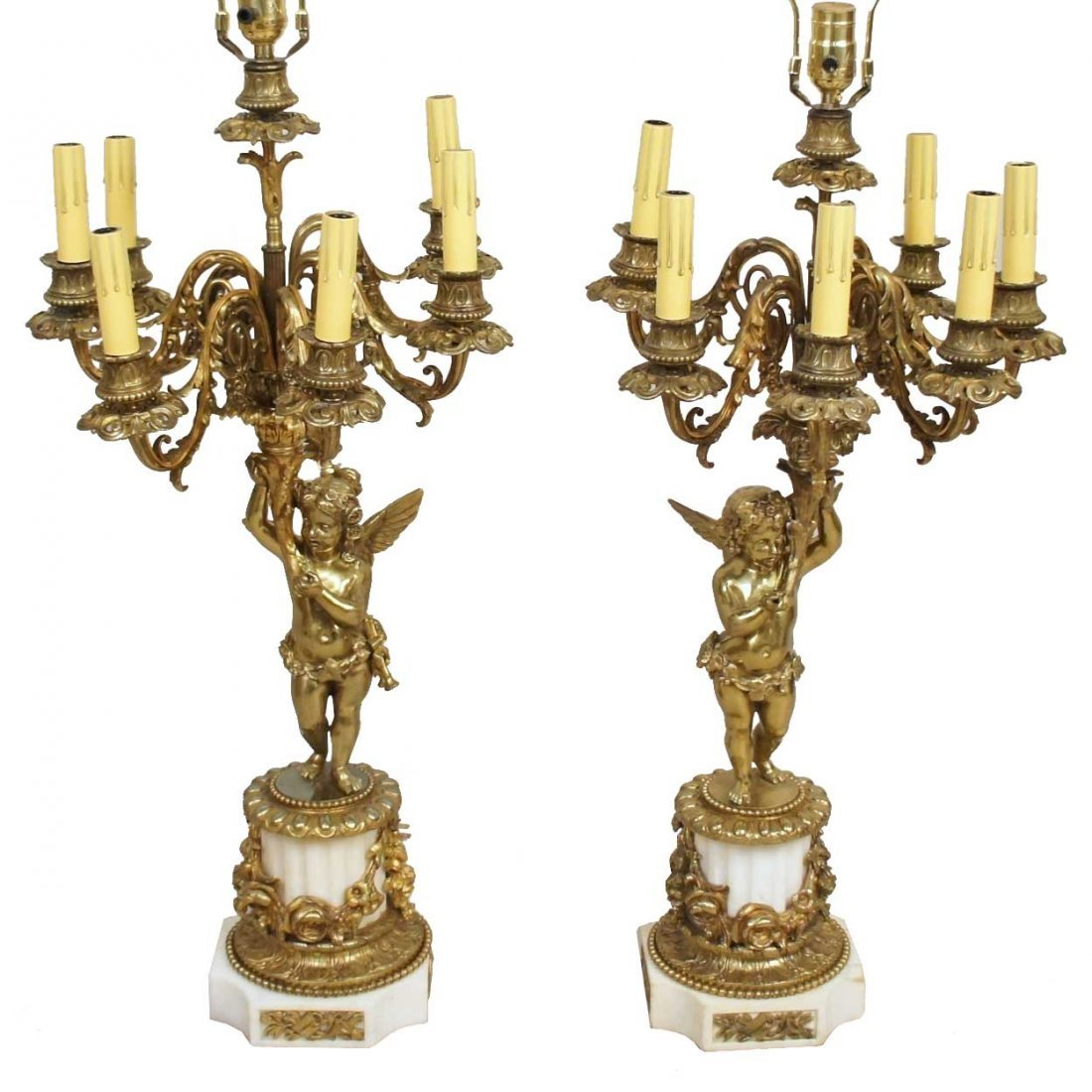 21: A Pair of French Louis XVI Style Bronze Figural Can