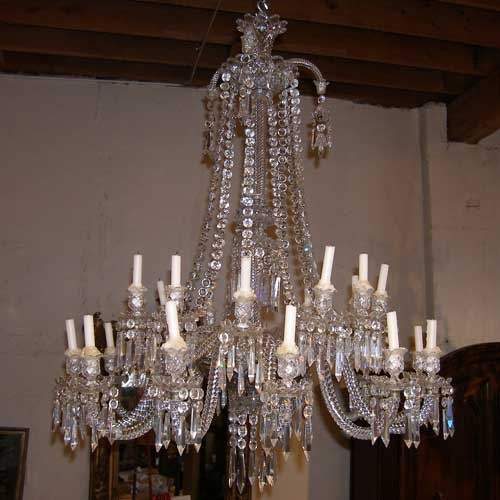49: A French Baccarat Napoleon III Cut Glass Chandelier