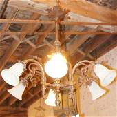 107: A French Baroque Style Wrought Iron Chandelier, He