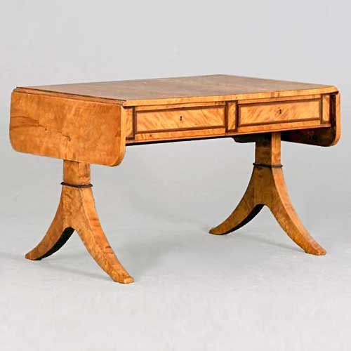 221: A Swedish Karl Johan Burled Birch Drop-Leaf Sofa T