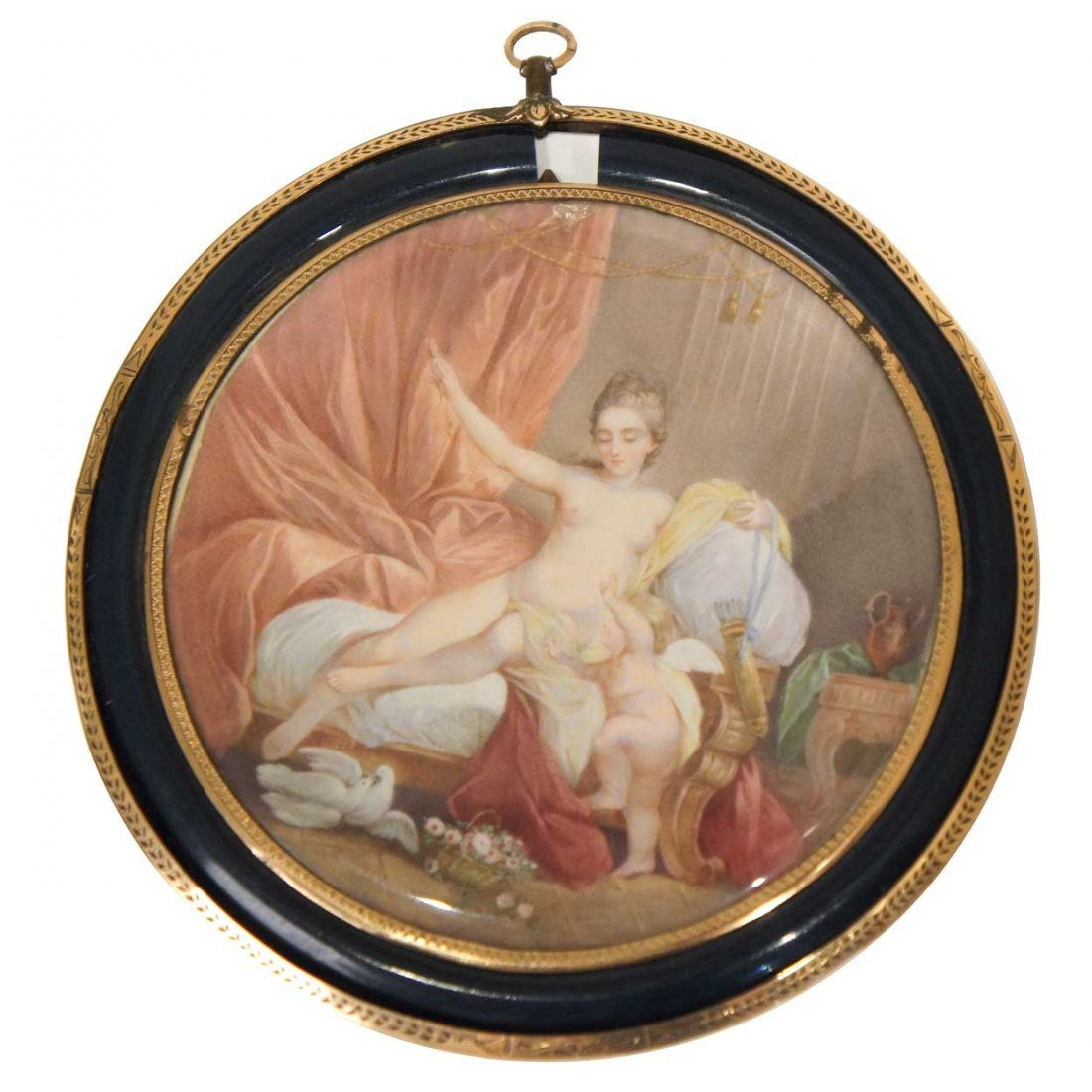 572: A French Louis XVI Style Miniature Cabinet Paintin