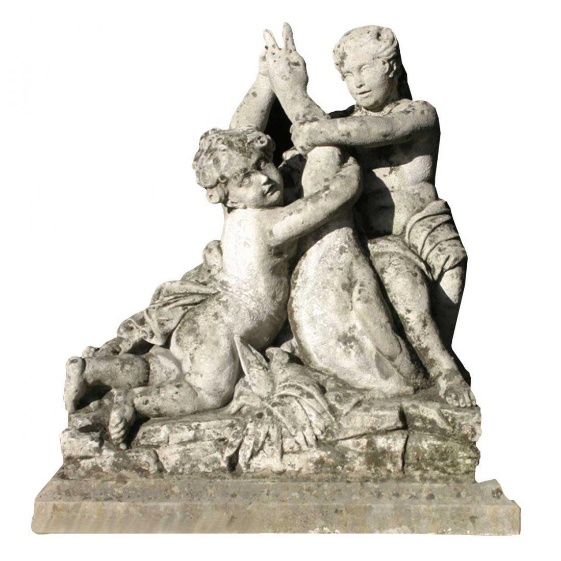 922: A French Louis XVI Neoclassical Limestone Garden S