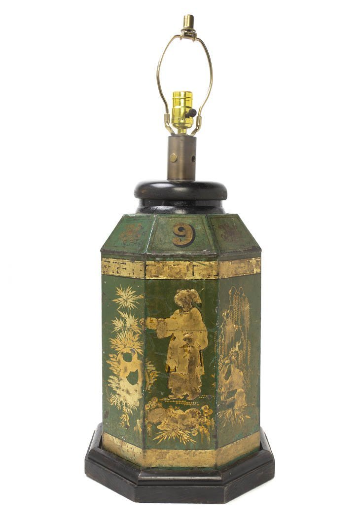 1: An English Tole Tea Canister, Height 22 1/2 inches.