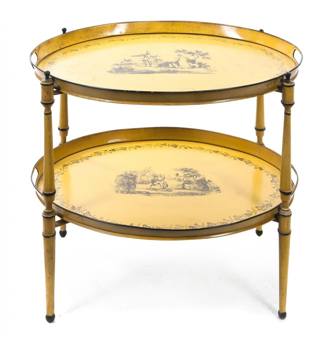 2: A Pair of Tole Tea Trays, Width over handles 25 1/4