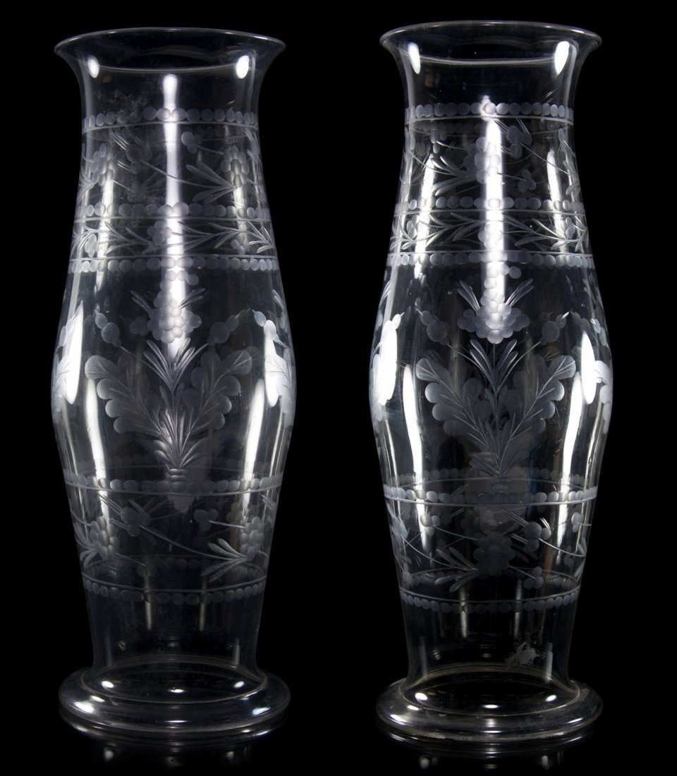 7: A Pair of English Etched Blown Glass Hurricane Shade