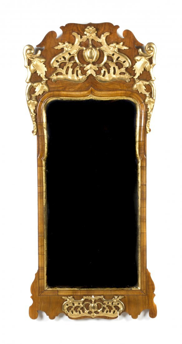 10A: A Queen Anne Style Burlwood and Parcel Gilt Mirror