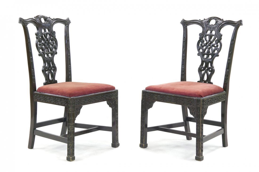 11: A Pair of Chinese Chippendale Style Mahogany Side C
