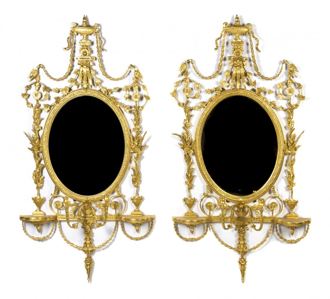 14: A Pair of Adam Style Giltwood Mirrors, Height 66 1/