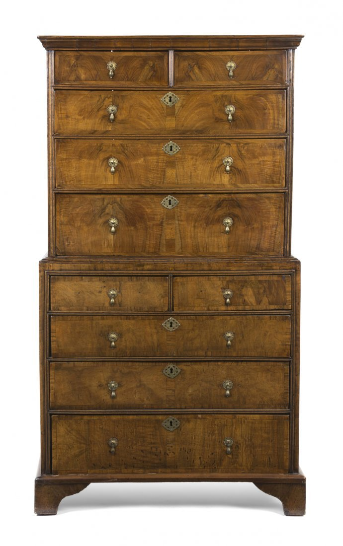 19: A George I Walnut Chest on Chest, Height 67 x width