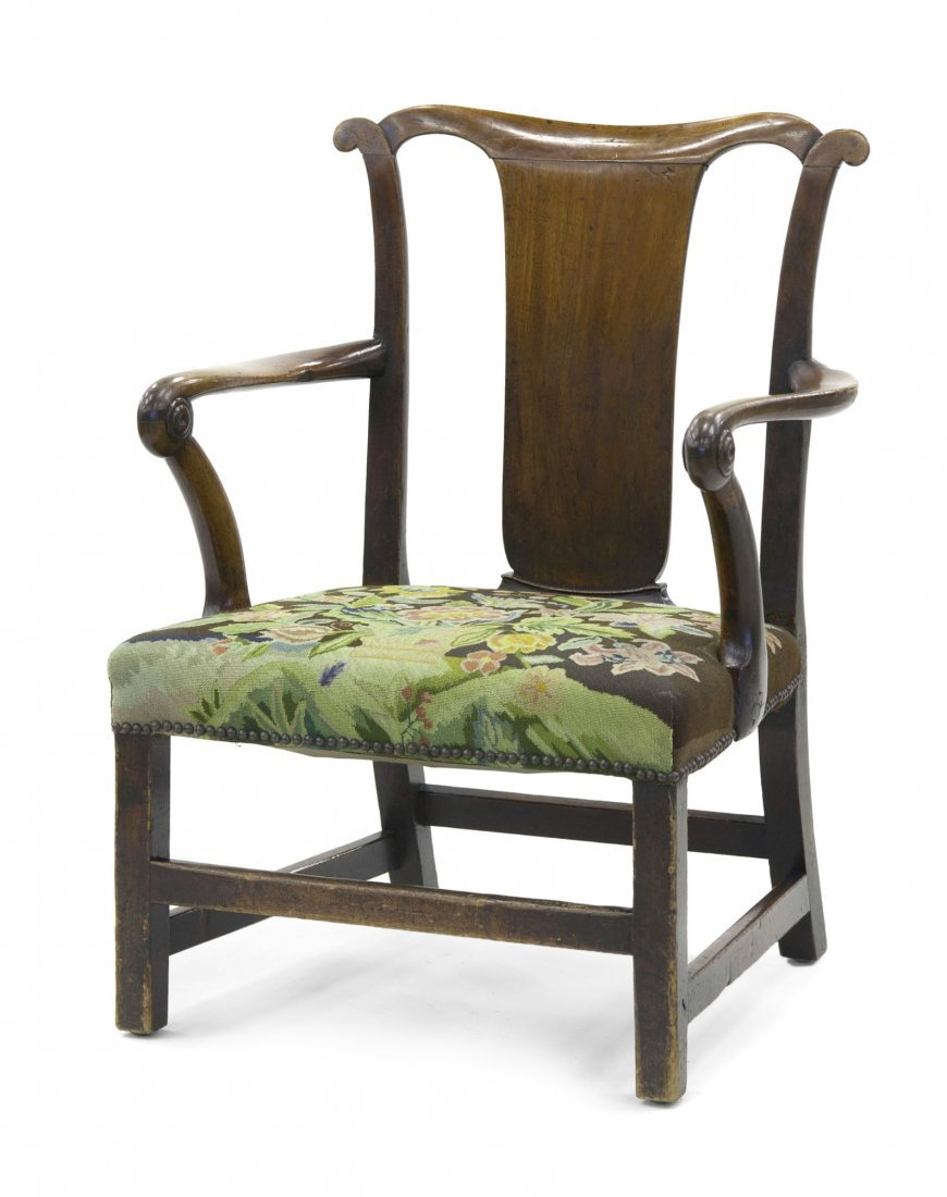 22: A George II Style Walnut Open Armchair, Height 36 i