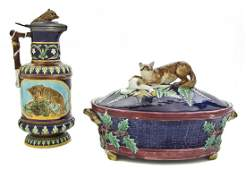98 Two Majolica Articles Height of taller 11 34 inch