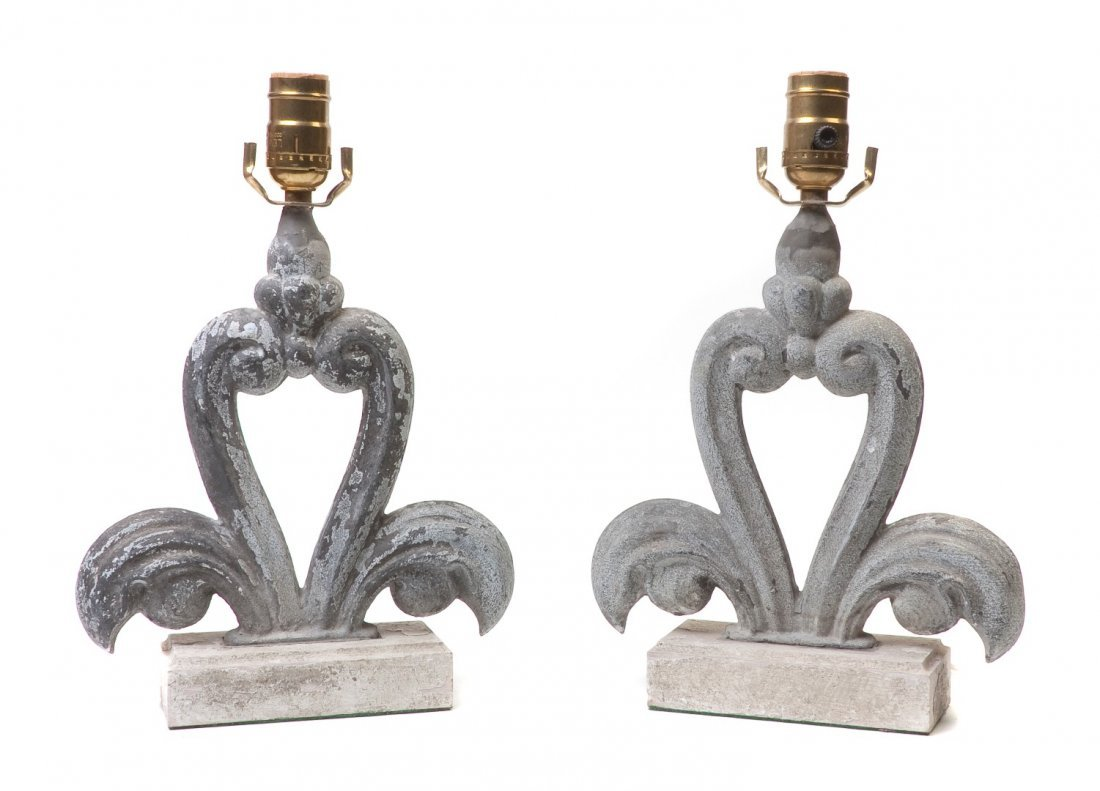 420: A Pair of French Zinc Architectural Elements, Heig