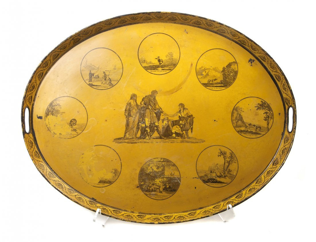 421: A French Painted Tole Tray, Width 24 inches.