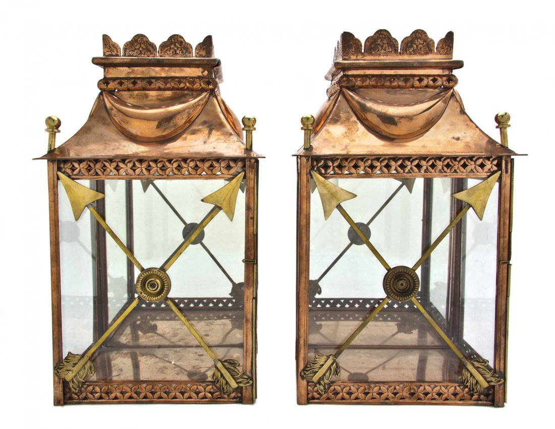 422: A Pair of French Carriage Style Copper and Brass L