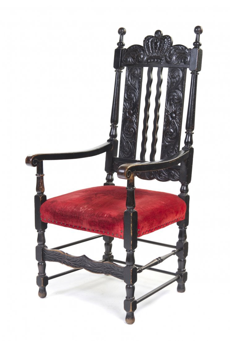 424: A Henry II Style Open Armchair, Height 50 3/4 x wi