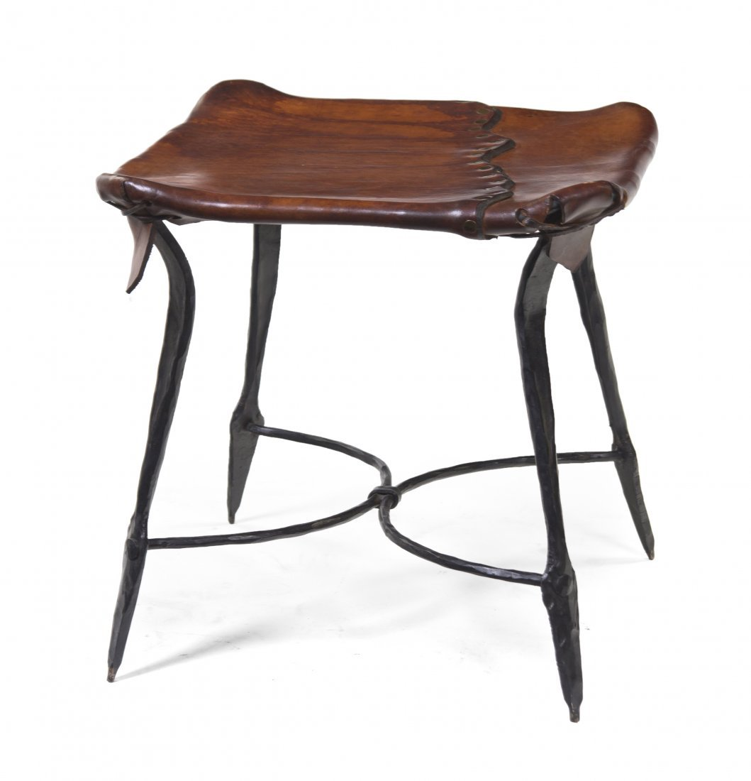 428: A French Wrought Iron Stool, Height 16 3/4 inches.