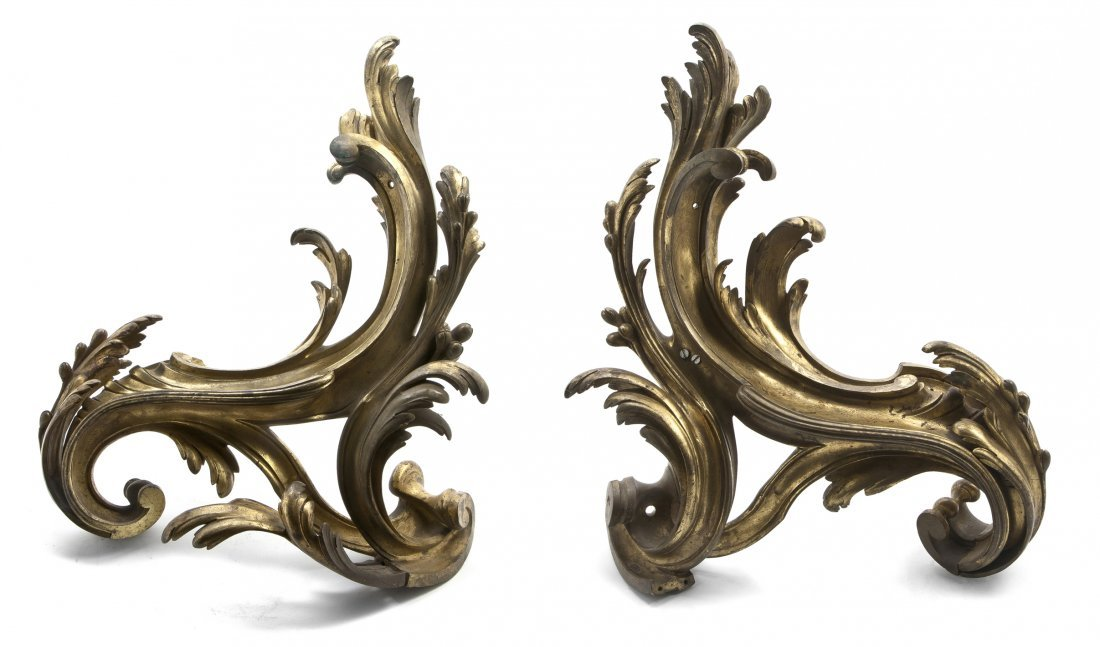429: A Pair of Continental Gilt Bronze Chenets, Height
