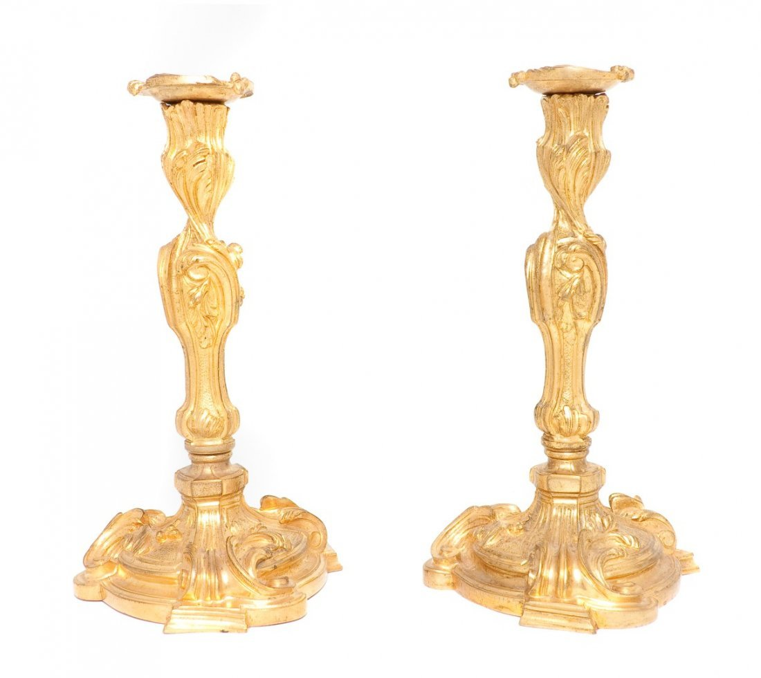 430: A Pair of Louis XV Style Gilt Bronze Candlesticks,