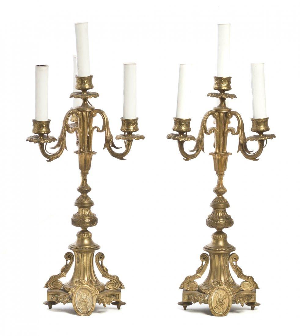 431: A Pair of Neoclassical Gilt Metal Four-Light Cande