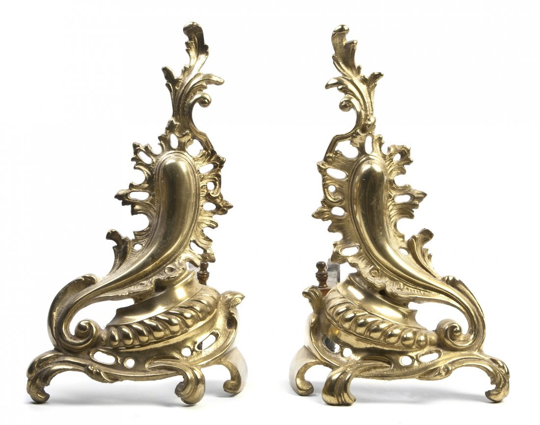 432: A Pair of Louis XV Style Gilt Metal Chenets, Heigh