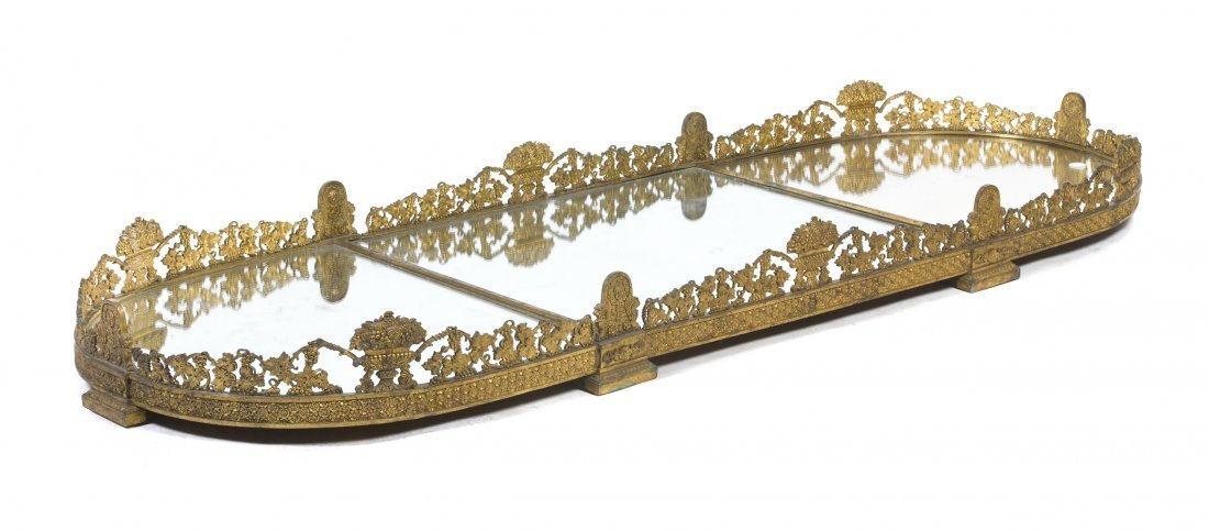 434: A Continental Gilt Bronze Mirrored Table Plateau,