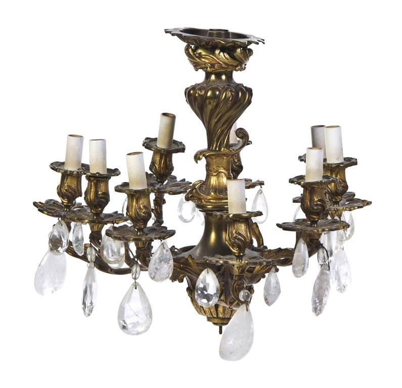 435: A Louis XV Style Gilt Bronze Chandelier, Height 17