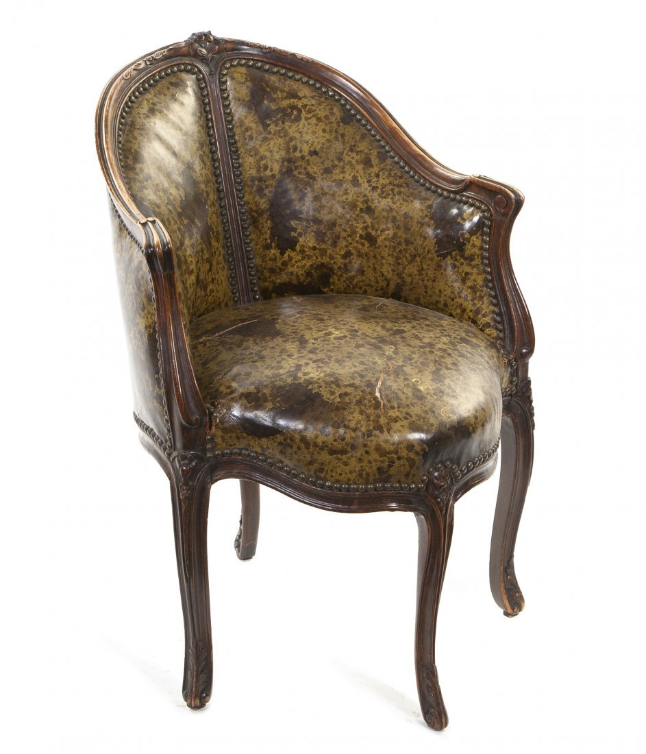 436: A Louis XV Style Bergere, Height 32 1/2 inches.