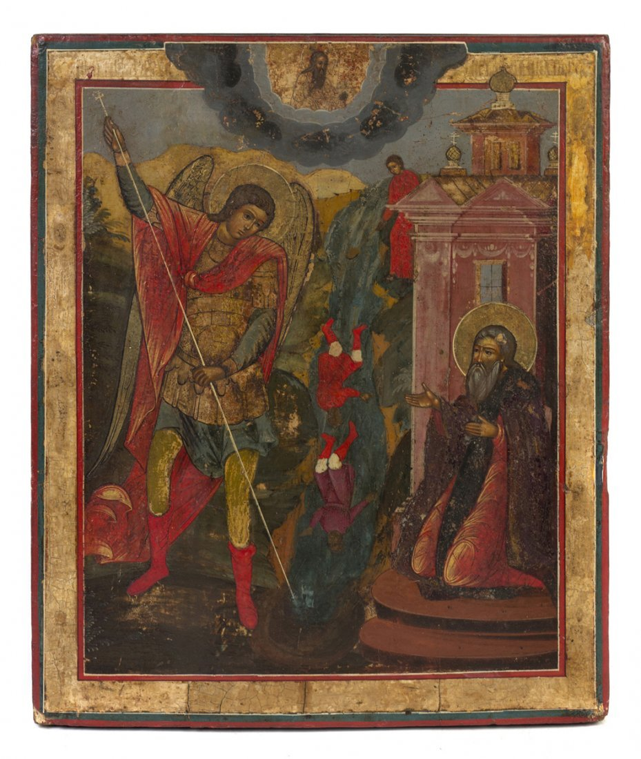 761: An Eastern Orthodox Painted Wood Icon, Height 14 1