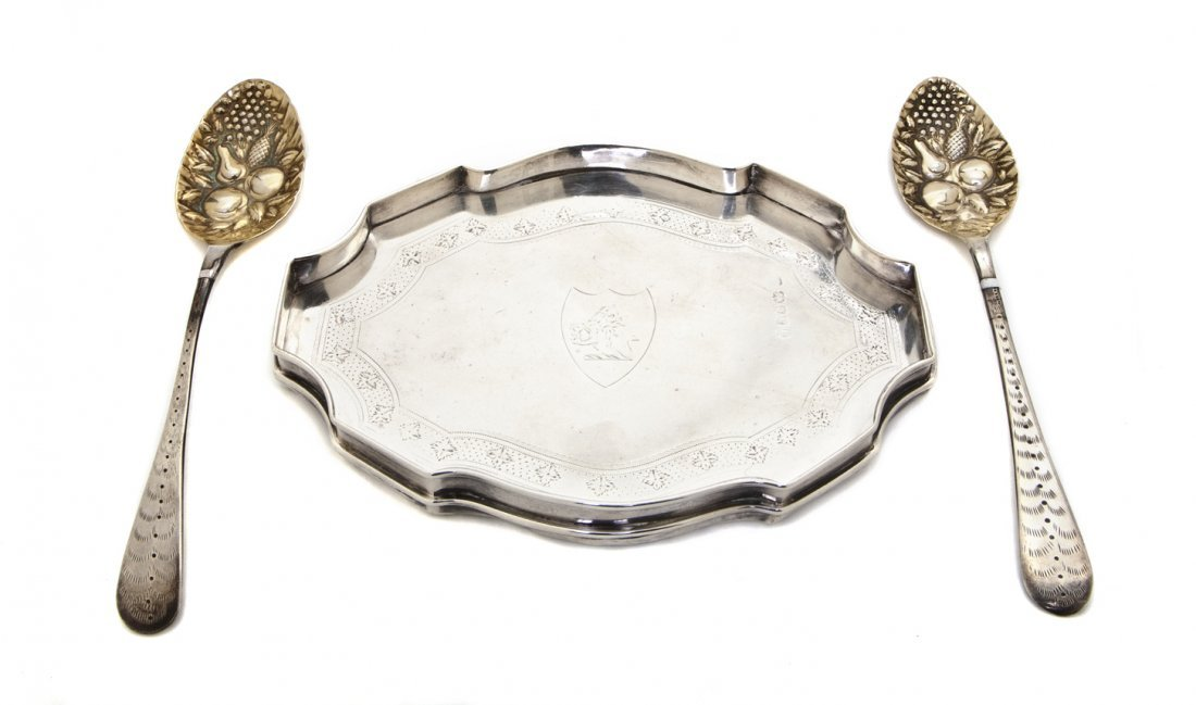 905: An English Silver Teapot Tray, Width 7 inches.