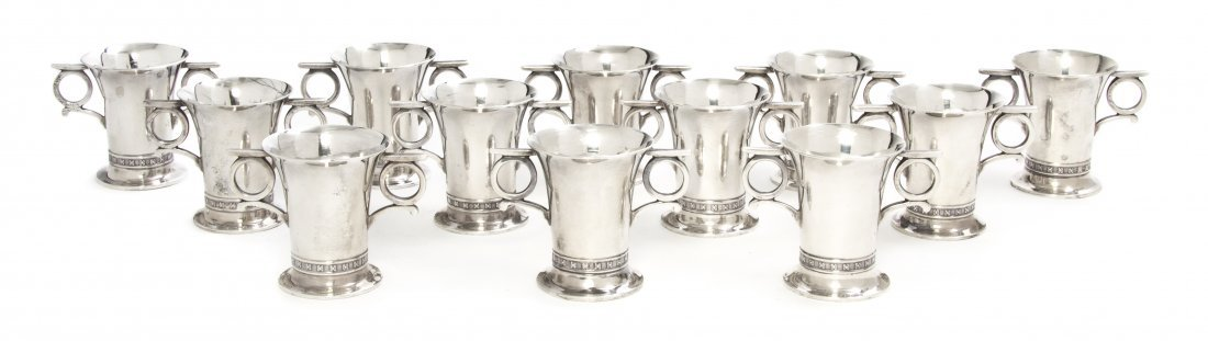 917: A Cased Set of Twelve English Silver Cordials, Map