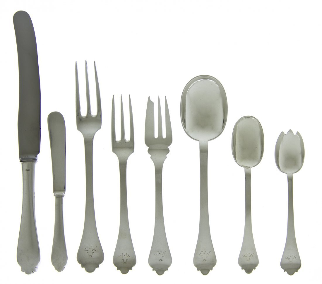 922: An English Silver Flatware Service for Eight, Lion