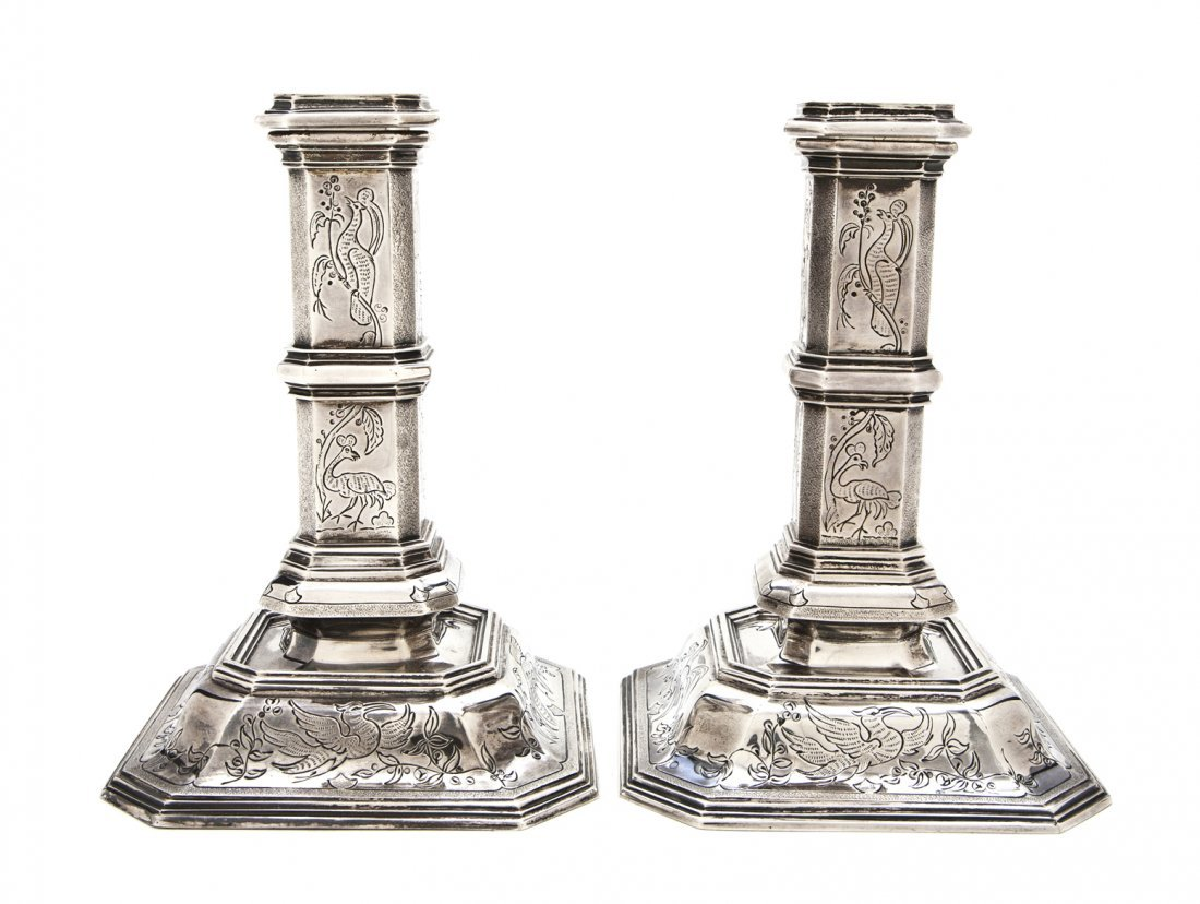 925: A Pair of English Silver Candlesticks, Tiffany and