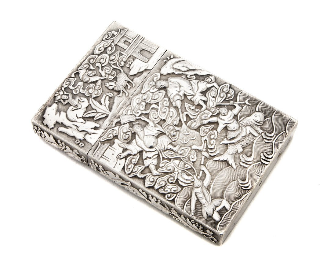 983: A Chinese Export Silver Card Holder, Width 4 inche