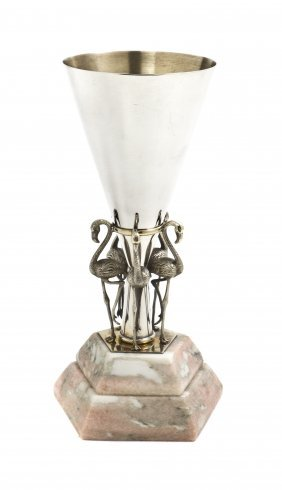 An American Sterling Silver Trumpet Vase, Height