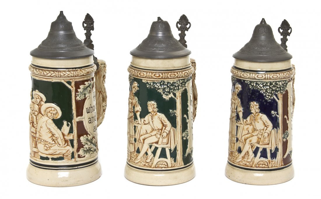 1076: Three German Pottery Steins, Height of tallest 8