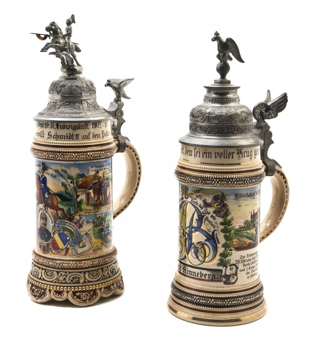 1078: Two German Pottery Steins, Merkelbach & Wick, Hei