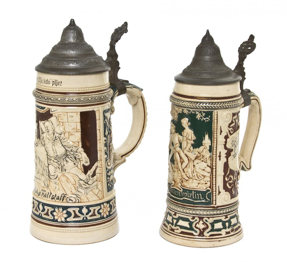 1080: Two German Pottery Steins, Height of taller 10 3/