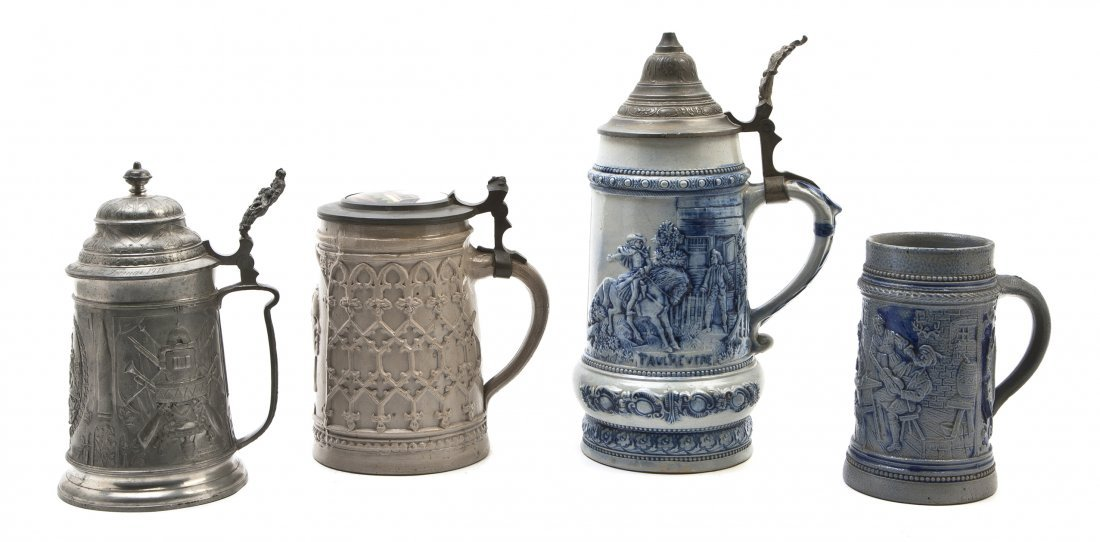 1081: Two German Pottery Steins, Height of tallest 10 3