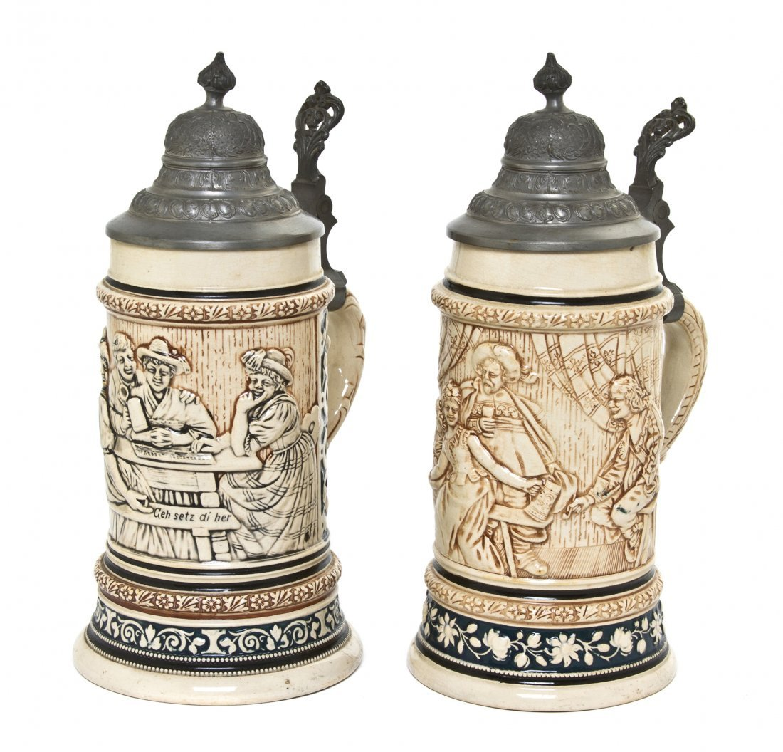 1082: Two German Pottery Steins, Height of taller 10 in