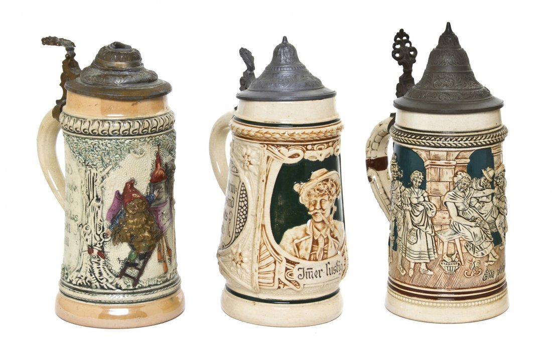 1083: Three German Pottery Steins, Height of tallest 8