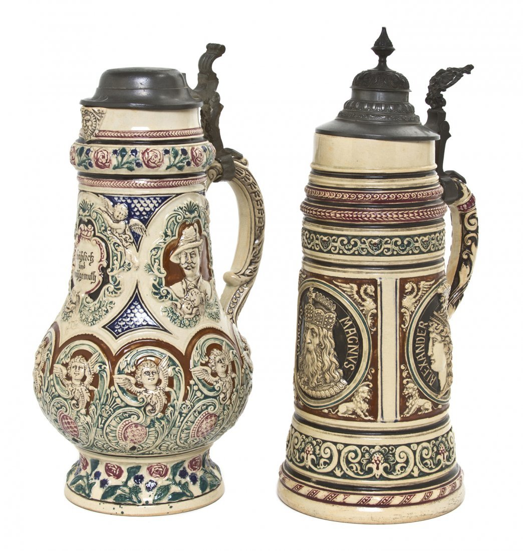 1085: Two German Pottery Steins, Height of taller 14 1/