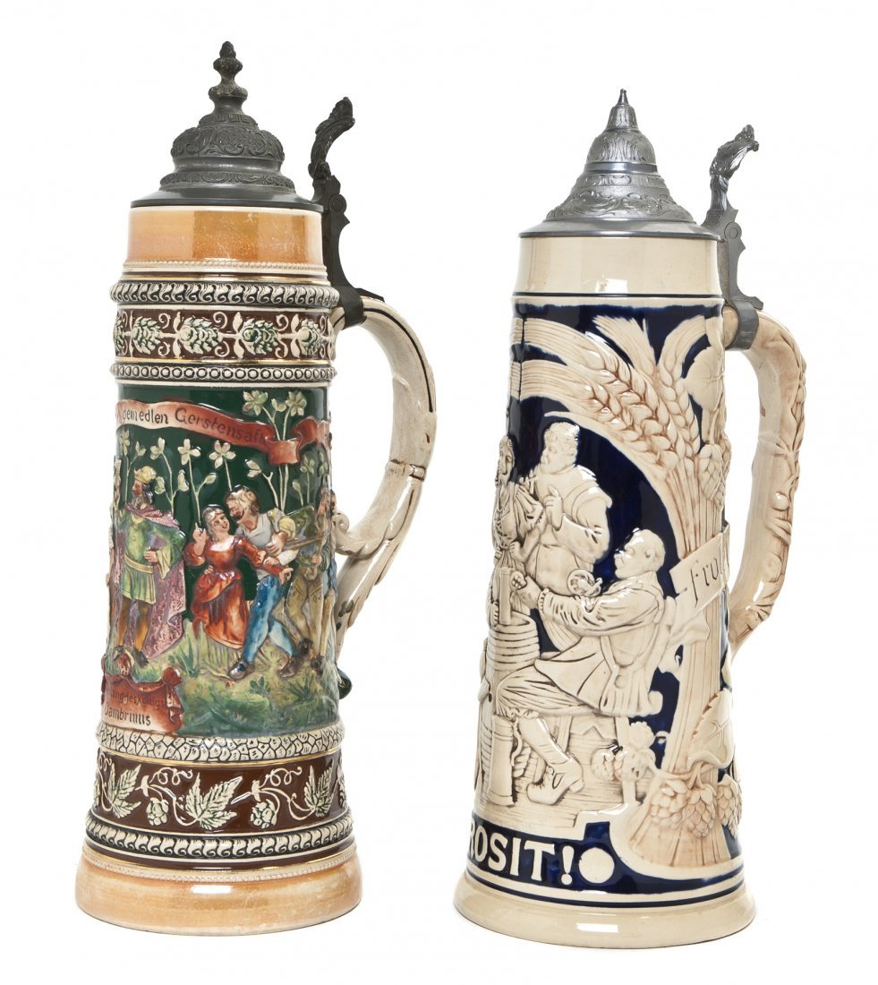 1087: A German Pottery Stein, Marzi & Remy, Height of t