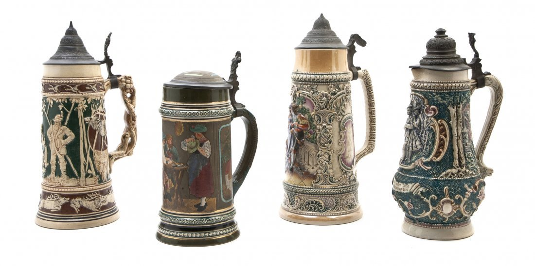 1089: Two German Porcelain Steins, Diesinger, Height of