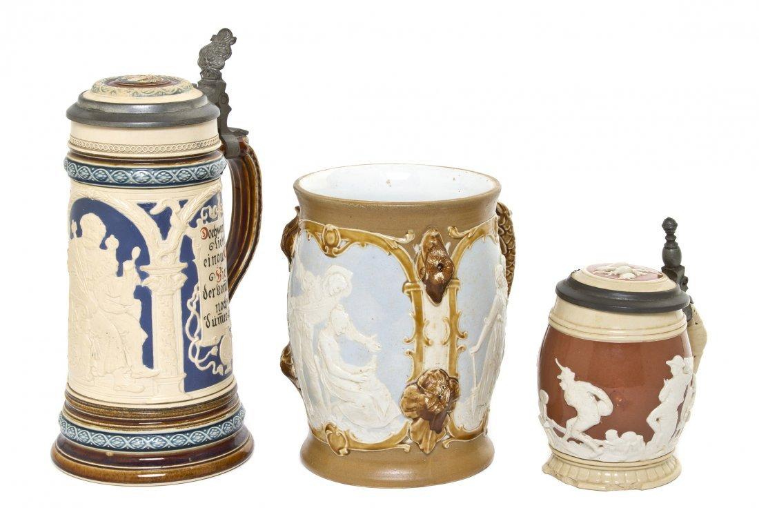 1090: Three German Pottery Steins, Villeroy & Boch, Met